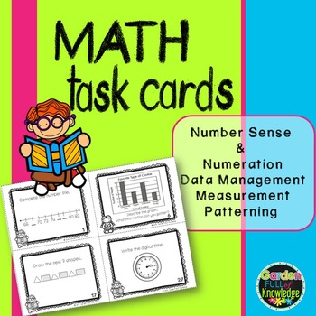 Math Task Cards with Time, Patterning, Graphing, Place Val