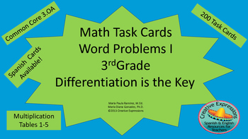 Math Task Cards-Word Problems I-3rd Grade-Differentiation