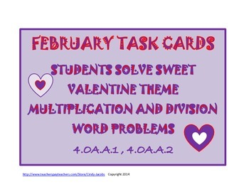 Math Task Cards, Word Problems, Multiplication and Divisio