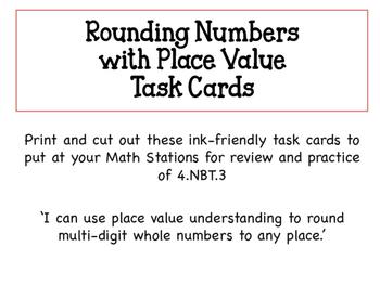 Math Task Cards for Rounding 4.NBT.3