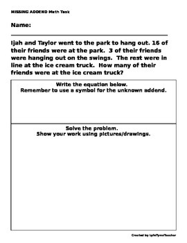 Math Task: Missing Addends and Choosing Number Sentences t