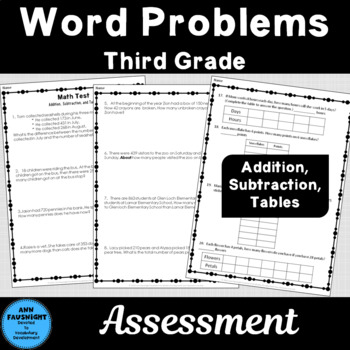 Math Test Addition, Subtraction, Tables 20 Word Problems