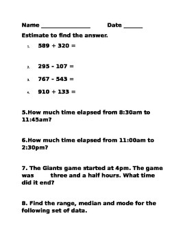 Math Test with Word Problems:Elapsed Time,Estimation,Mode,