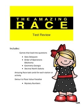 Math Test Review: Amazing Race Theme 5th grade 1st set of