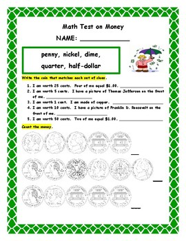 Math Test on Money for Second Grade