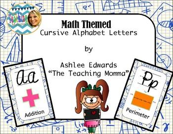 Math Themed Cursive Alphabet (Blue Grid)