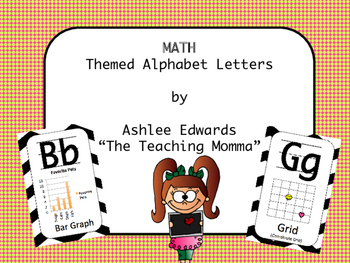 Math Themed Alphabet - Pink and Lime