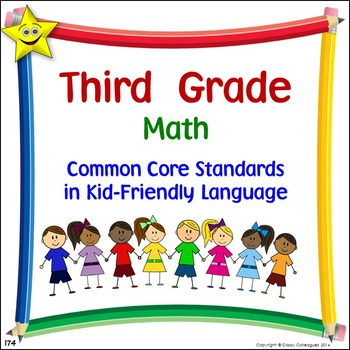 Math Third Grade Common Core Standards Posters in Kid-Frie
