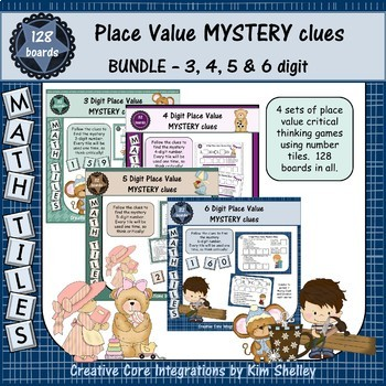 Math Tile MYSTERY Clues Place Value BUNDLE