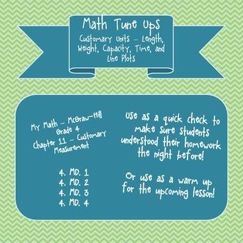 Math Tune Ups - McGraw Hill Ch. 11 Customary Measurement