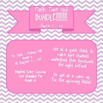 Math Tune Ups - McGraw Hill Ch.1 - 14 ***BUNDLE!!! All Cha