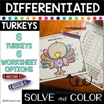 Math Turkey Art Solve & Design Project - Addition & Subtraction
