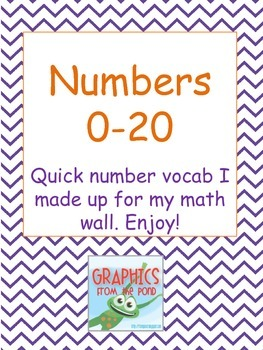 Math Vocabulary 0-20 with ten frames