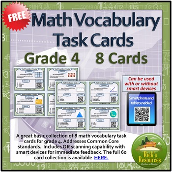 Math Vocabulary Task Cards (8) - Smart Device QR Code Enab