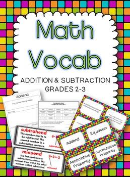 Math Vocabulary -- Addition & Subtraction