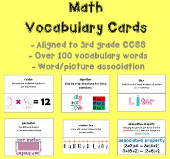 Math Vocabulary Cards (Aligned to 3rd Grade CCSS)