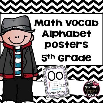 Math Vocabulary Alphabet 5th Grade Grey Chevron