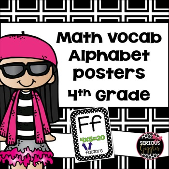 Math Vocabulary Alphabet Posters 4th Grade Black and White