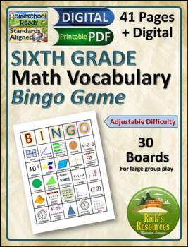 Math Vocabulary Words Practice and Review for 6th Grade -