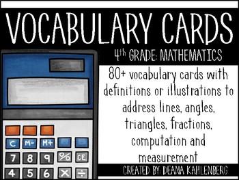 Math Vocabulary Cards {4th Grade}
