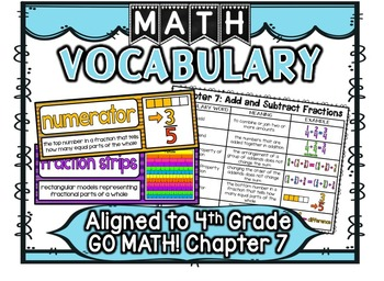 Math Vocabulary Cards Aligned to 4th Grade GO Math! Chapter 7