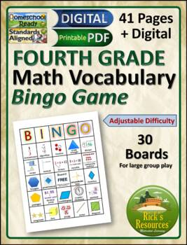 Math Vocabulary Words Practice and Review for 4th Grade -