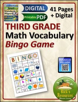 Math Vocabulary Words Practice and Review for 3nd Grade -