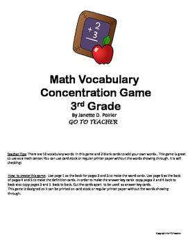 Math Vocabulary Concentration Game