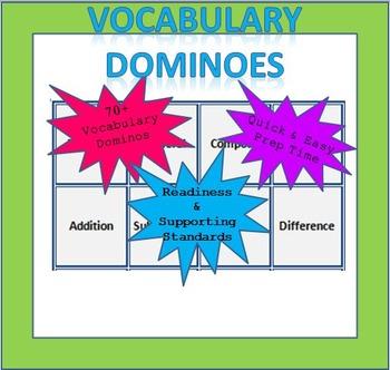 Math Vocabulary Dominoes - 1st Grade (TEKS Aligned)