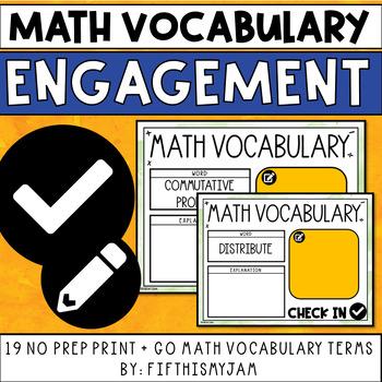 Math Vocabulary Engagement Charts Unit 4