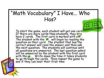 """Math Vocabulary"" I have... Who has?"