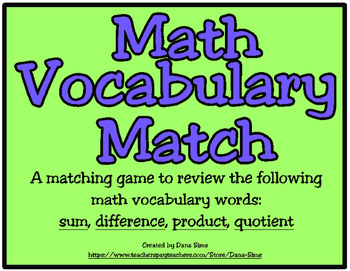 Math Vocabulary Match