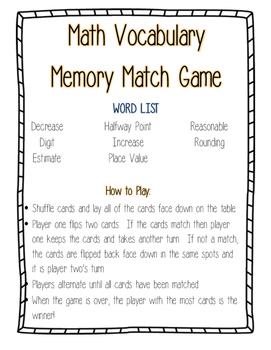 Math Vocabulary Match Game--Number & Operations in Base Te