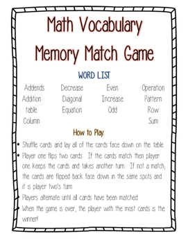 Math Vocabulary Match Game--Operations and Algebraic Thinking