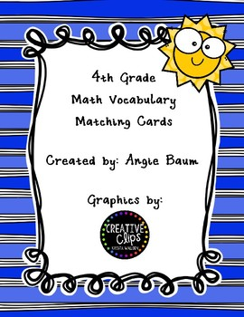 Math Vocabulary Matching Cards 4th Grade