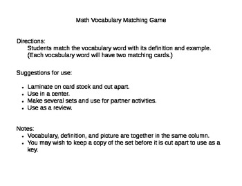 Math Vocabulary Matching Game