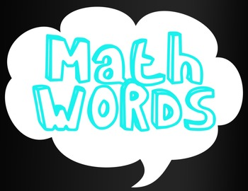 "Math Vocabulary ""Math Words"" Poster"