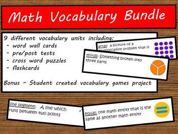 Math Vocabulary Packet Bundle