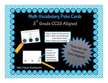 Math Vocabulary Poke Cards 3rd grade CCSS aligned