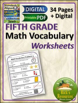 Math Vocabulary Words Practice and Review Worksheets for 5