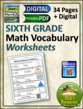Math Vocabulary Words Practice and Review Worksheets for 6