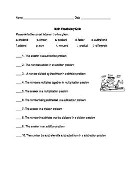 Math Vocabulary Quiz