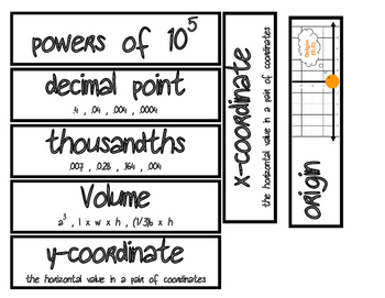 Math Vocabulary Strips #2