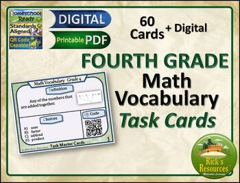 Math Vocabulary Words Practice and Review Task Cards for 4