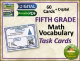 Math Vocabulary Words Practice and Review Task Cards for 5