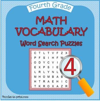 Fourth Grade Math Word Search Bundle