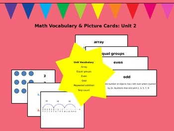 Math Vocabulary and Picture Cards: Unit 2