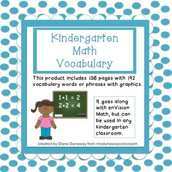 Math Vocabulary for Kindergarten (entire year bundled)