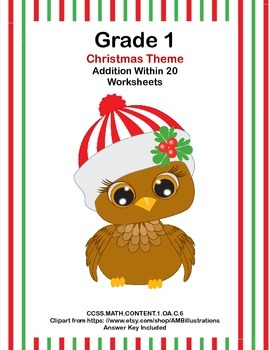 Math WS's- Addition to 20 Practice -Christmas -CCSS.MATH.C