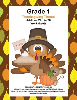 Math WS's- Addition to 20 Practice -Thanksgiving -CCSS.MAT